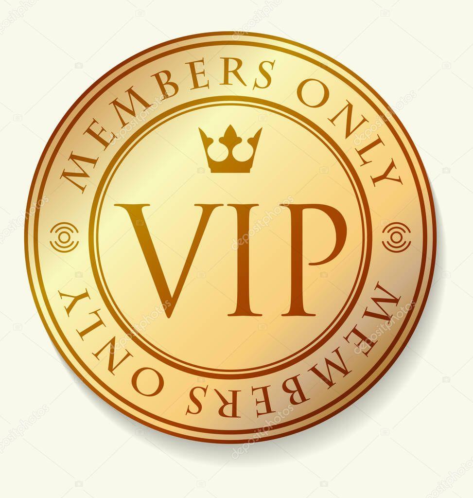 Vip logo gold | Oro decoración Vip con marco redondo ...
