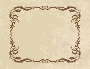 Old frame on aged paper