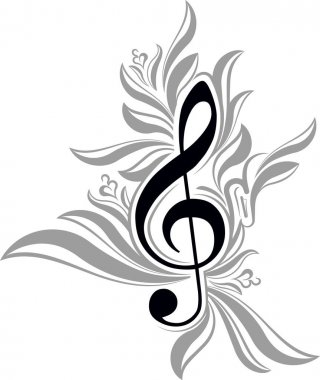 background with treble clef.