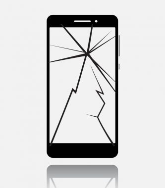 Broken smartphone with cracked touch screen