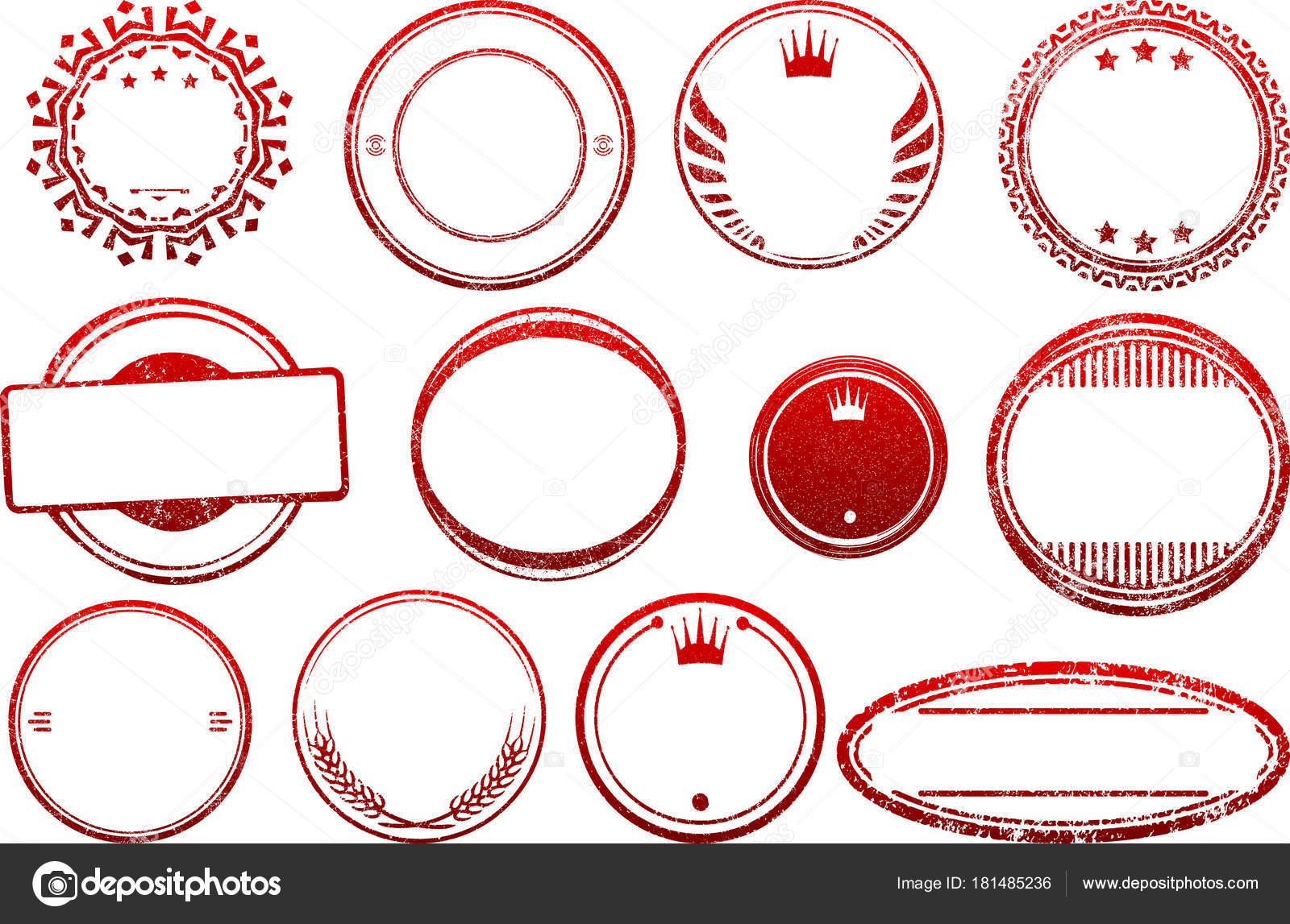 big set red templates rubber stamps stock vector antonshpak