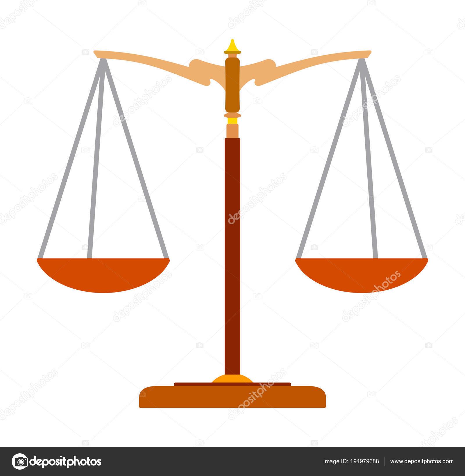 Icona Variopinta Piatto Della Bilancia Della Giustizia Simbolo