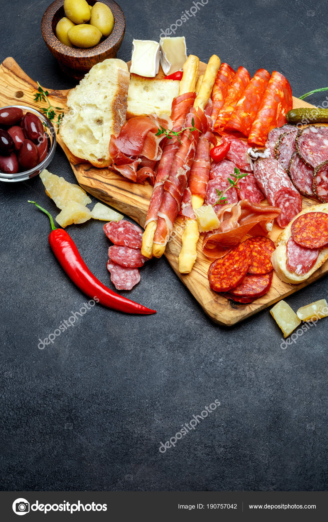 Meat and cheese plate with sausage prosciutto olives u2014 Stock Photo & meat and cheese plate with sausage prosciutto olives u2014 Stock Photo ...