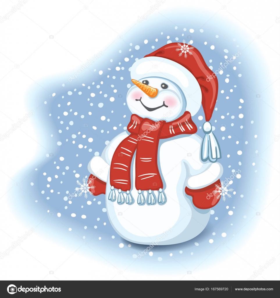 Carte De Noël Avec Bonhomme De Neige Drôle Au Cap Santa