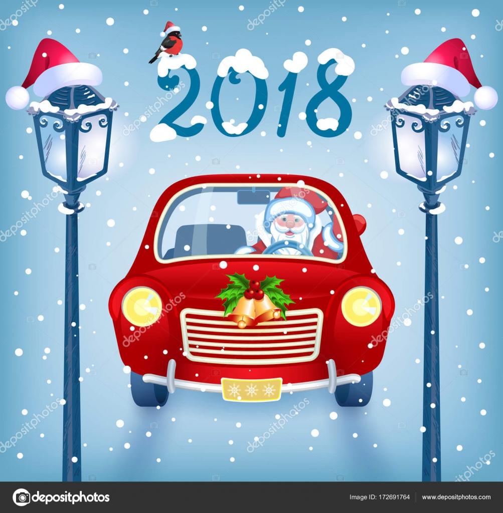 Weihnachtsmann Im Roten Auto Mit Aufschrift 2018 Gegen Schneefall
