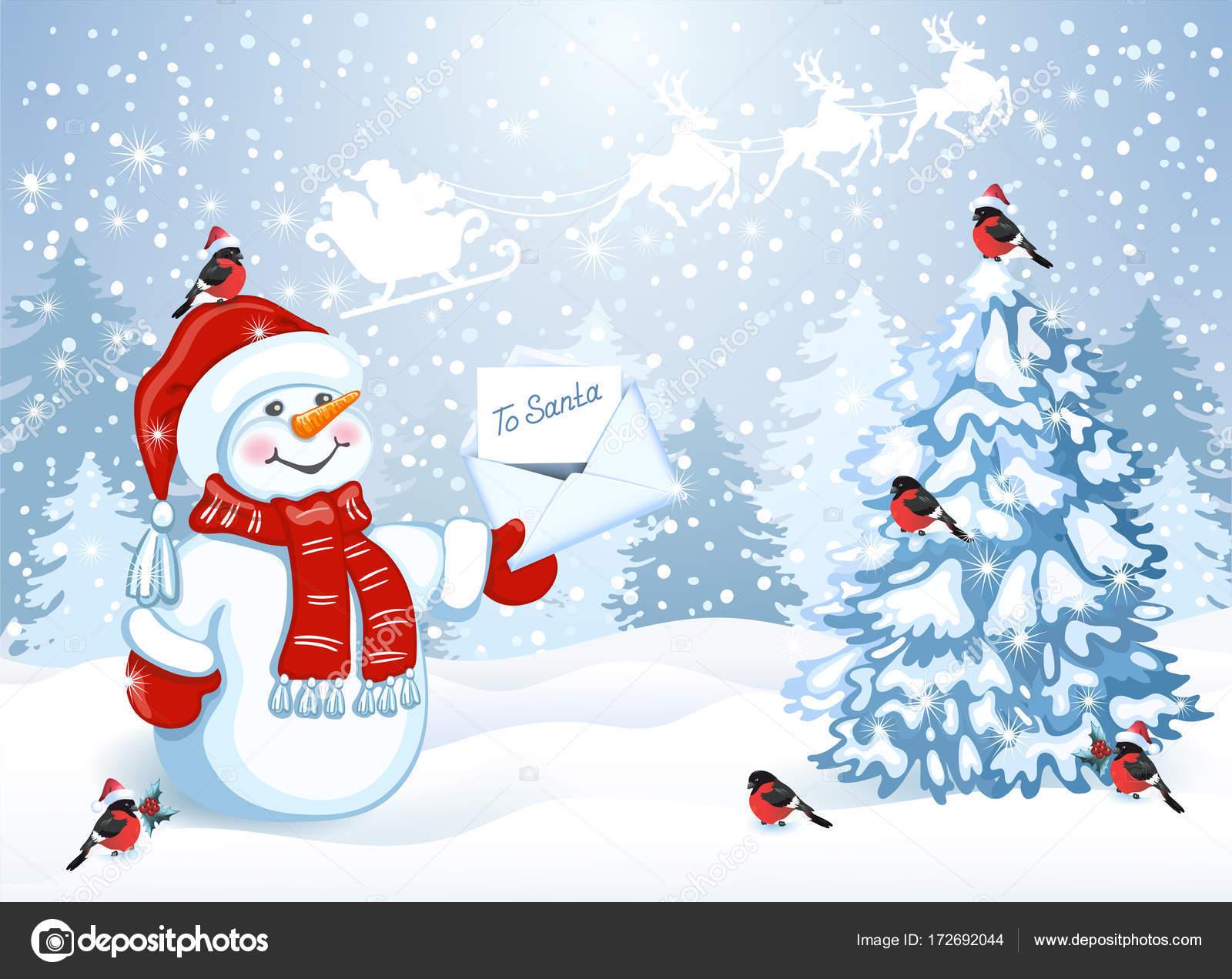 Carte De Noël Avec Bonhomme De Neige Drôle Au Cap Santa Avec