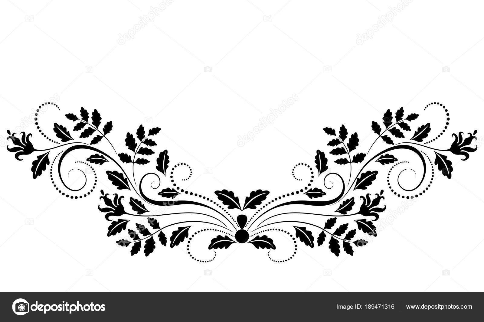 dekorative floral ornament für schablone isoliert auf weißem hinterg