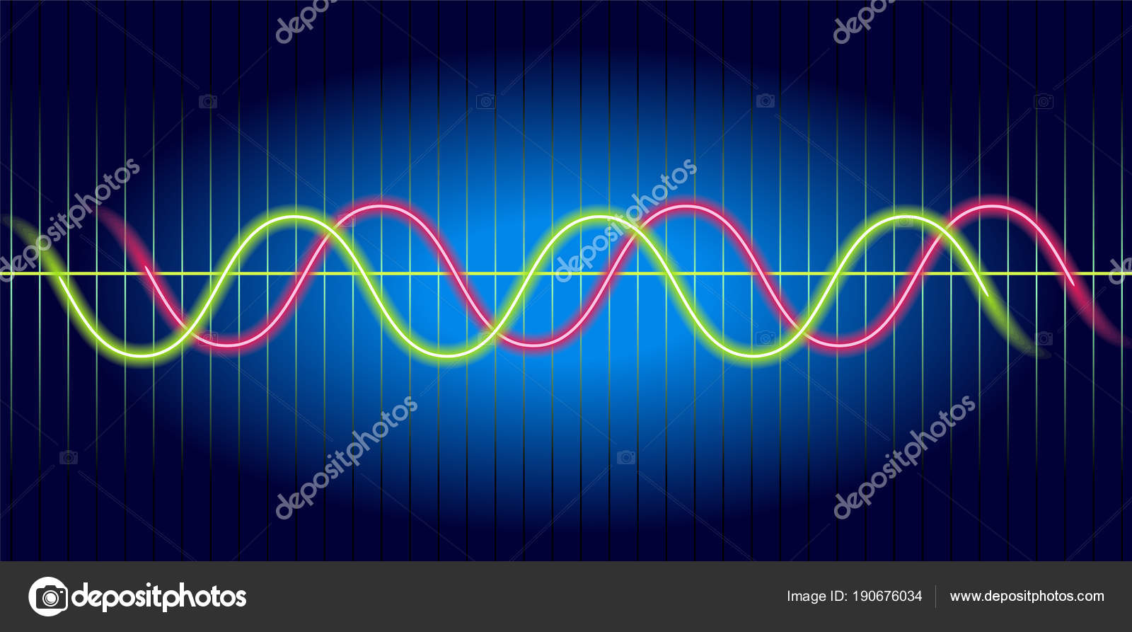 Neon wave graph  Oscilloscope with image of wave diagram