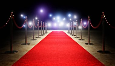Red carpet and golden barrier 3d rendering image stock vector