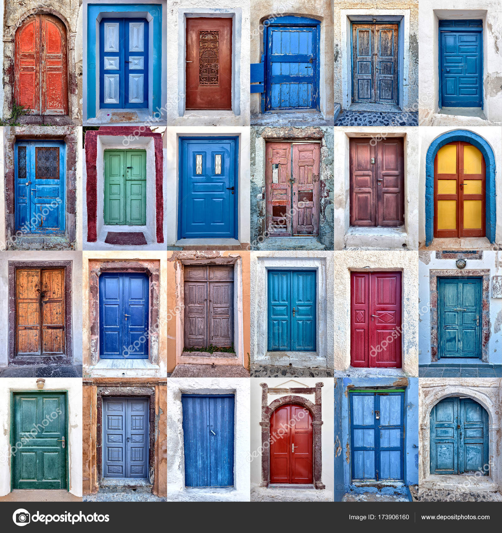 Composition of different colorful old doors in santorini greece u2014 Photo by jukai5 : stock doors - pezcame.com