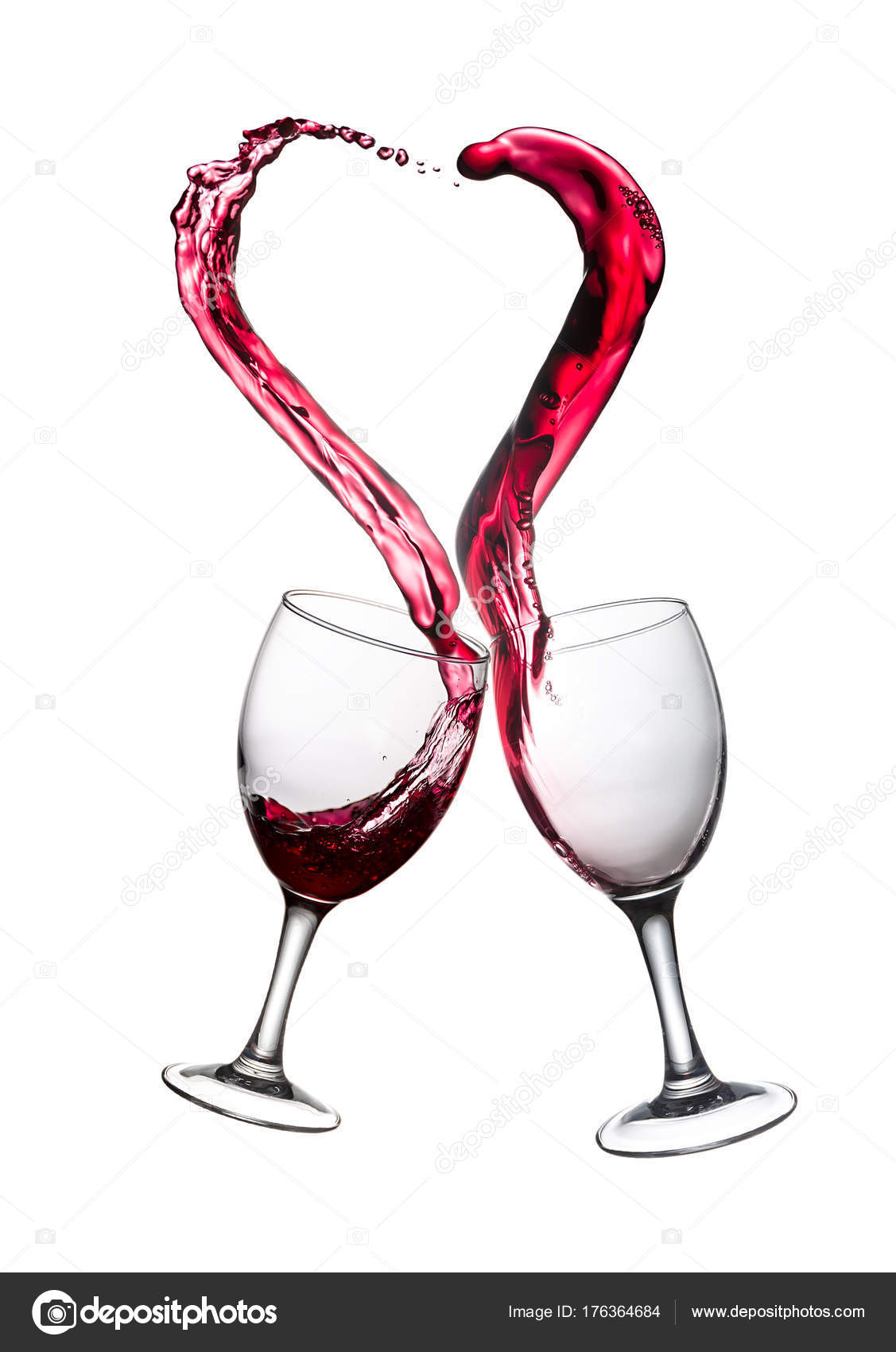 ced41a10af4d Two Glasses of Red Wine Abstract Heart Splash — Stock Photo ...