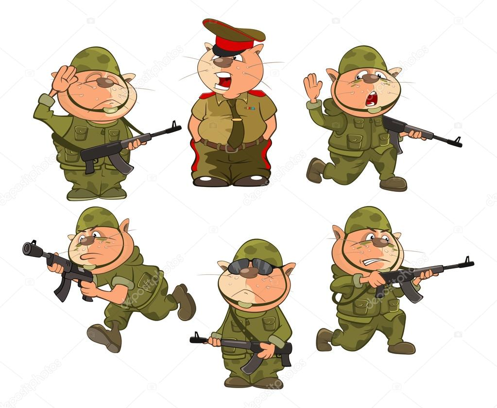 soldados de gato de desenho animado vetor de stock liusaart