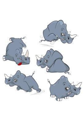 Hand-drawn rhino character set