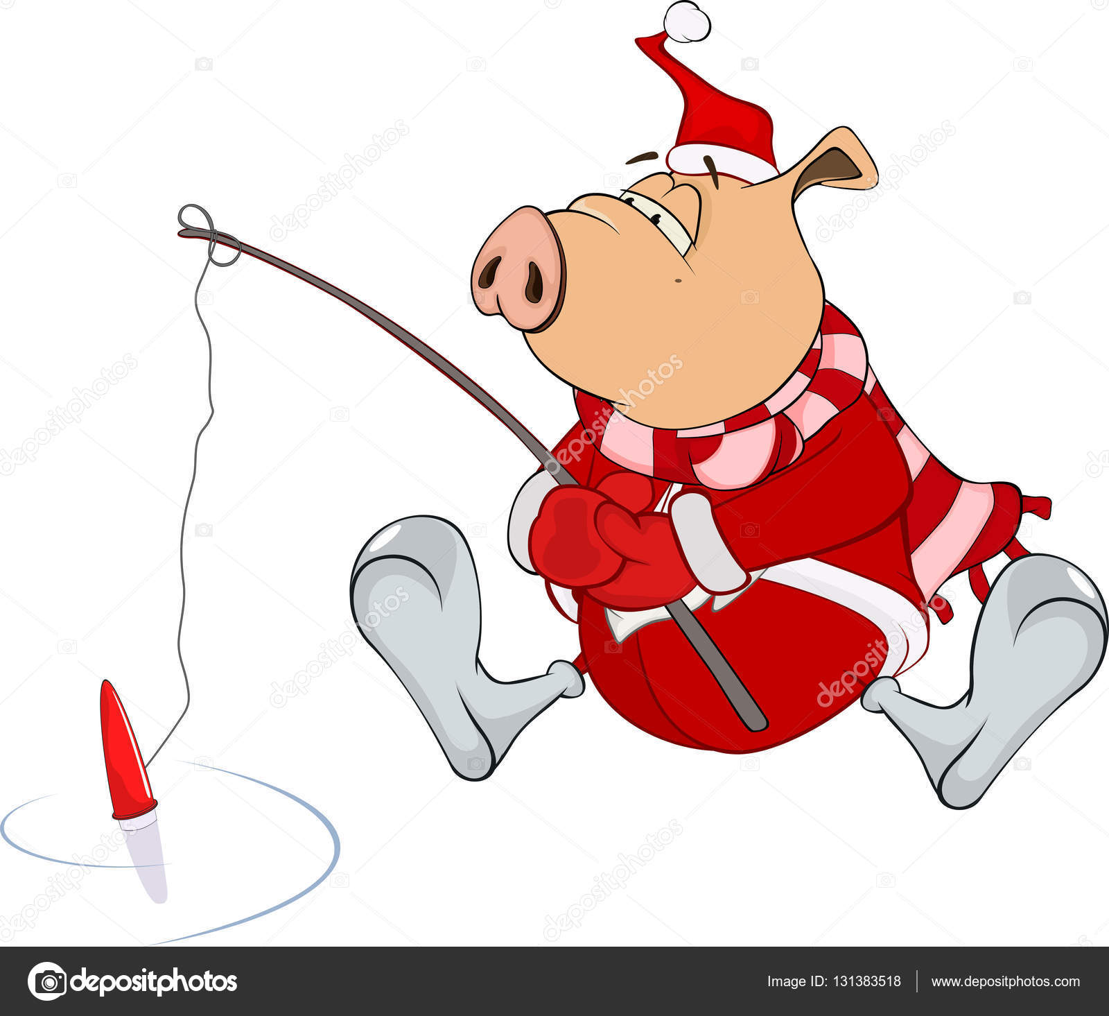 cartoon pig fishing — Stock Vector © liusaart #131383518