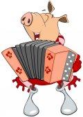 maiale del fumetto che gioca fisarmonica
