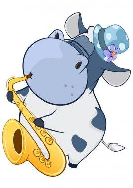 cartoon hippo playing trumpet