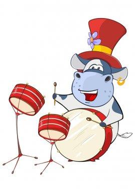 cartoon hippo playing drum set