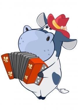 cartoon hippo playing accordion