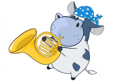 cartoon hippo playing French horn