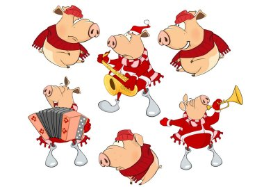 cartoon set of pigs in red clothes