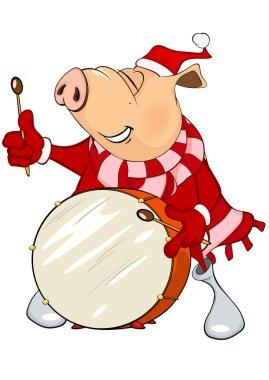 cartoon pig playing drum
