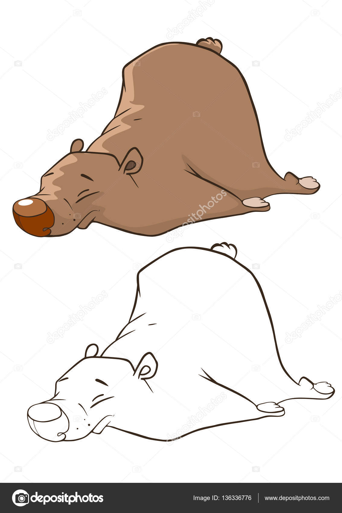 lindo oso pardo — Vector de stock © liusaart #136336776