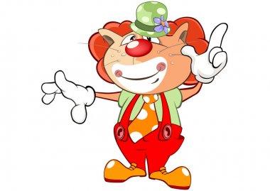 Cute Cat Clown. Cartoon Character