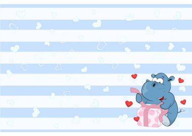 Valentines card with hippo