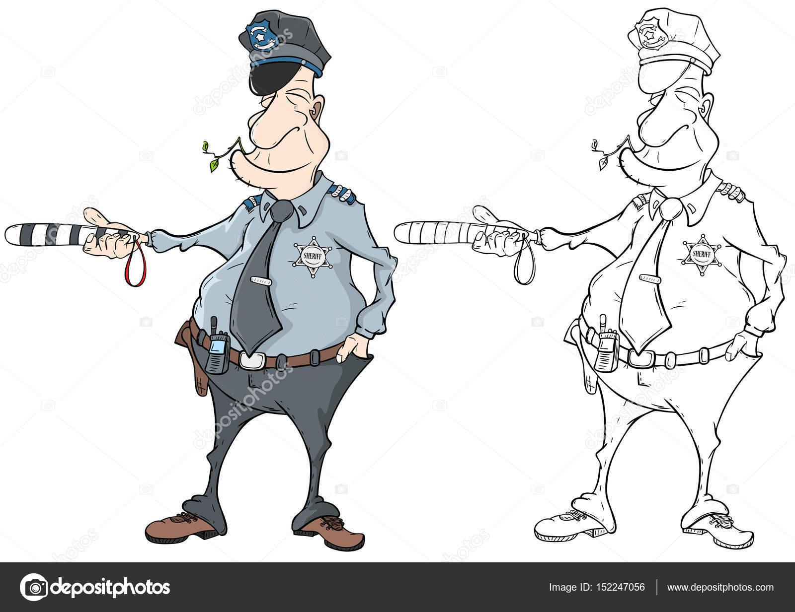 Ilustración de libro de colorear policía — Archivo Imágenes ...