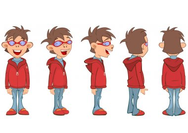 Set of Illustration a Cute Boy for a Computer Game Cartoon Character