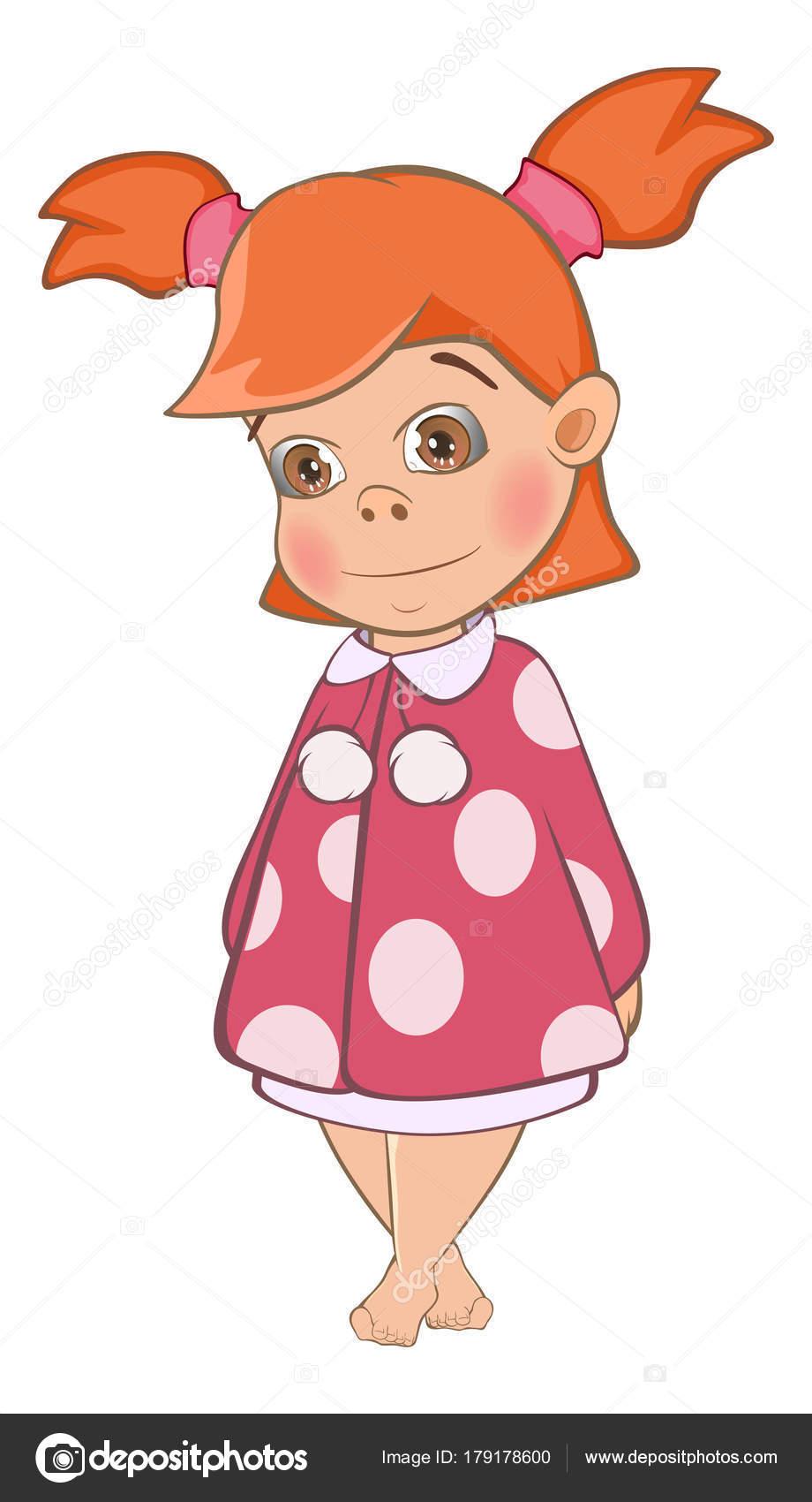Simpatico cartone animato piccolo ragazza vestito rosa