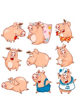 Set of colorful hand-drawn pigs cartoon characters, vector illustration