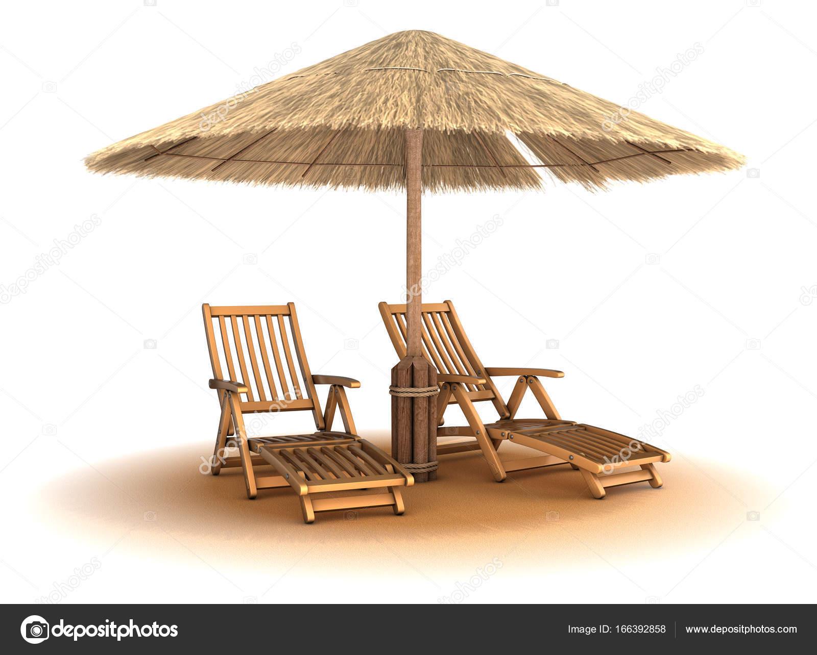 Sedie A Sdraio In Legno : Due sedie a sdraio in legno sotto un ombrello fatto di canne