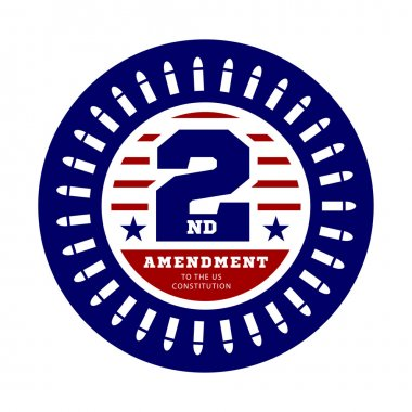Second Amendment to the US Constitution to permit possession of weapons. Vector illustration on white