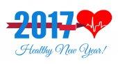 Blahopřejeme zdravý nový rok se srdcem a kardiogram. Vektorové ilustrace