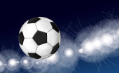 Soccer ball flying over the evening sky in the light of spotlights and flashes of a football stadium. Vector illustration