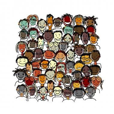 People crowd international, sketch for your design. Vector illustration stock vector