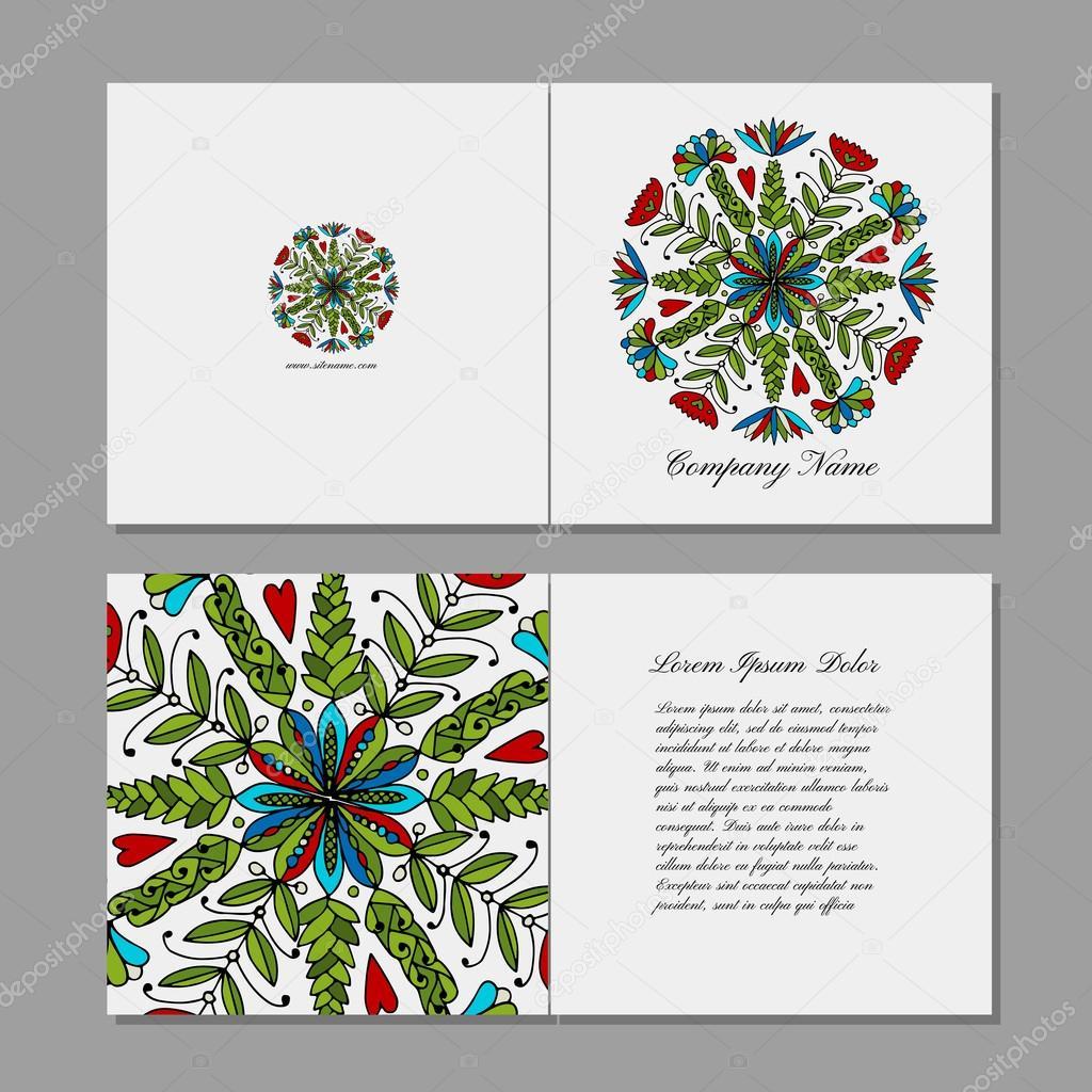 Greeting card, floral mandala design