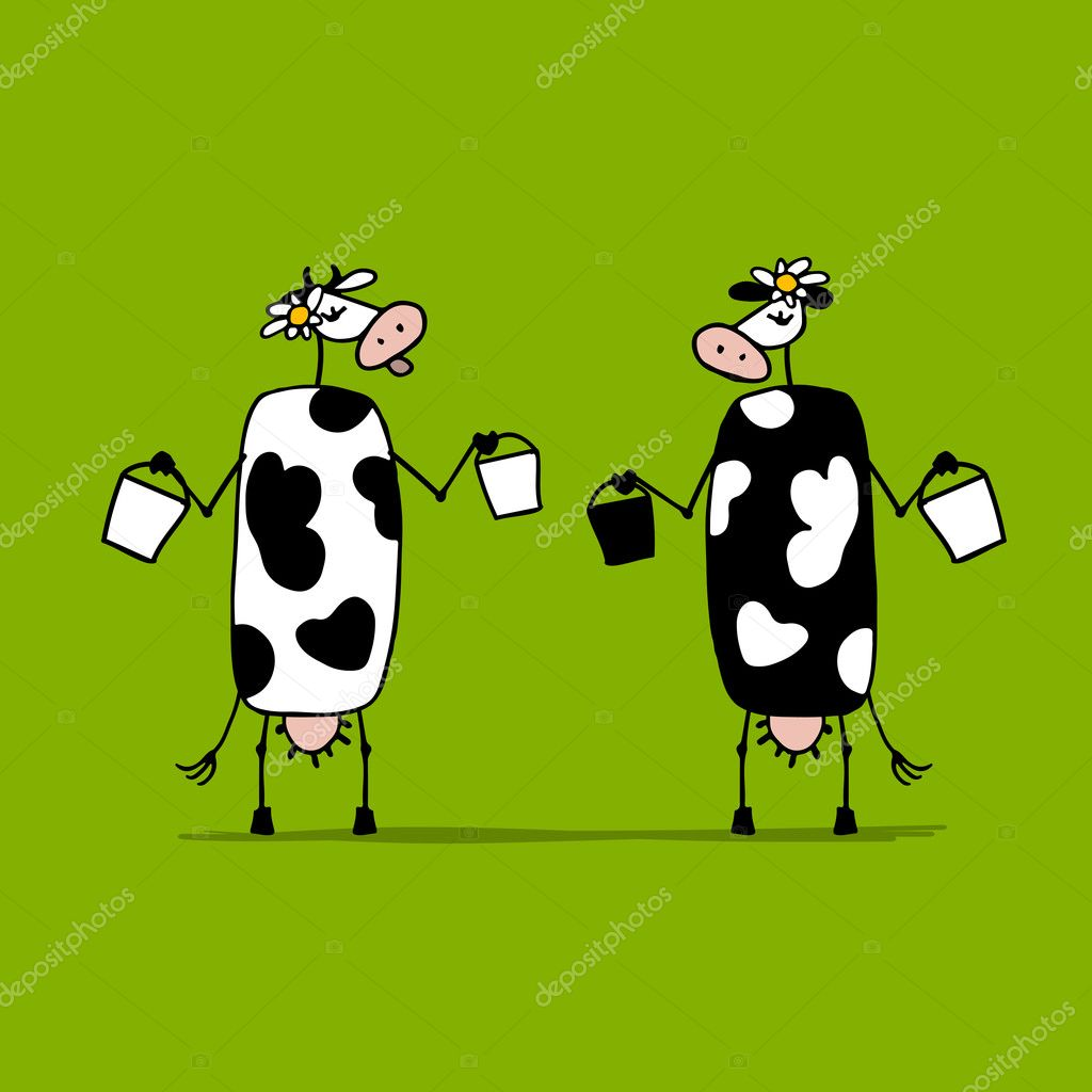 Cute cows with buckets of milk, sketch