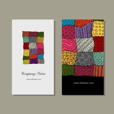 Business card collection, patchwork carpet design