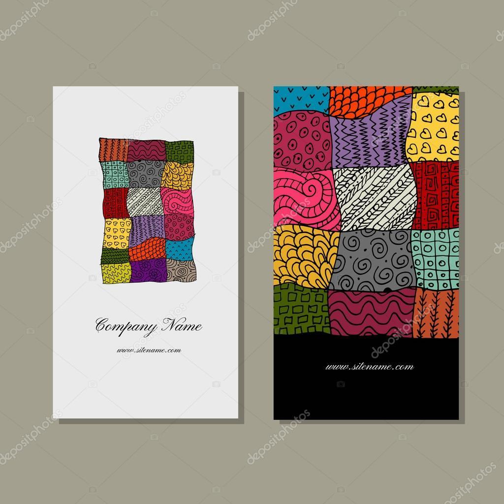 Collection De Carte Visite Conception Tapis Patchwork Illustration Stock