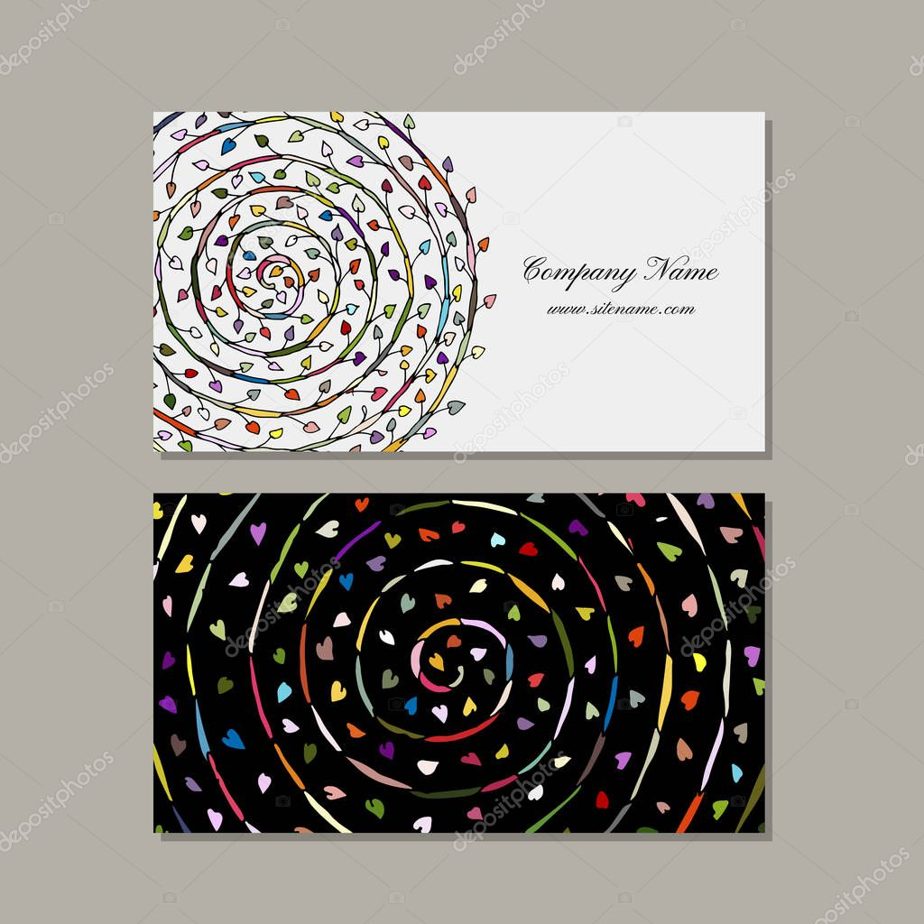 Business card design, floral mandala
