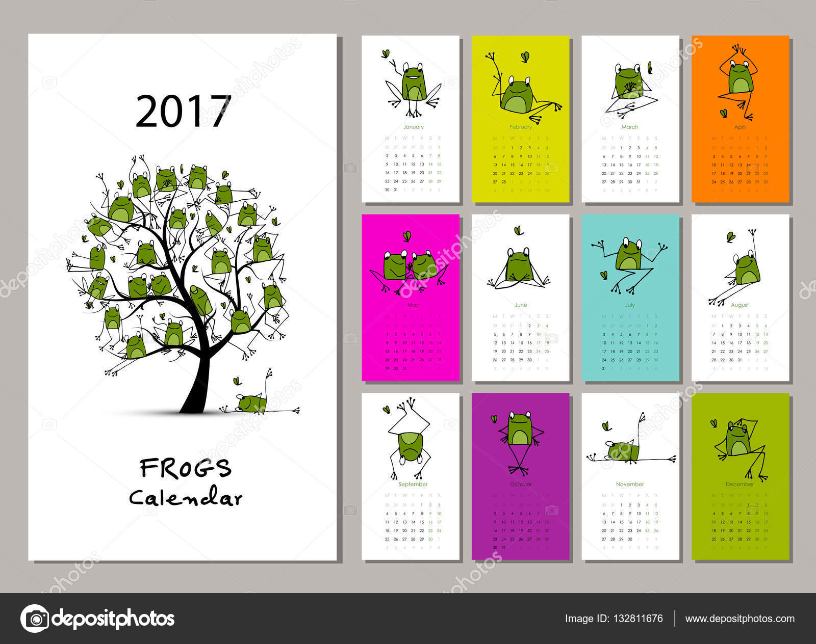 Ranas divertidas dise o de calendario 2017 vector de - Disenos de calendarios ...