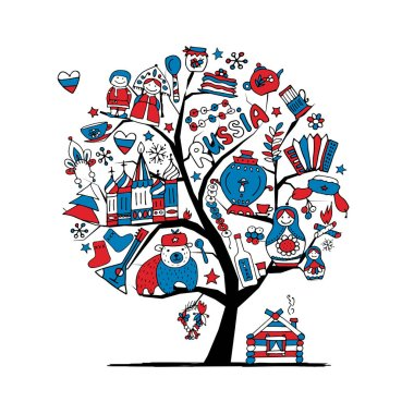 Art tree with russian symbols for your design