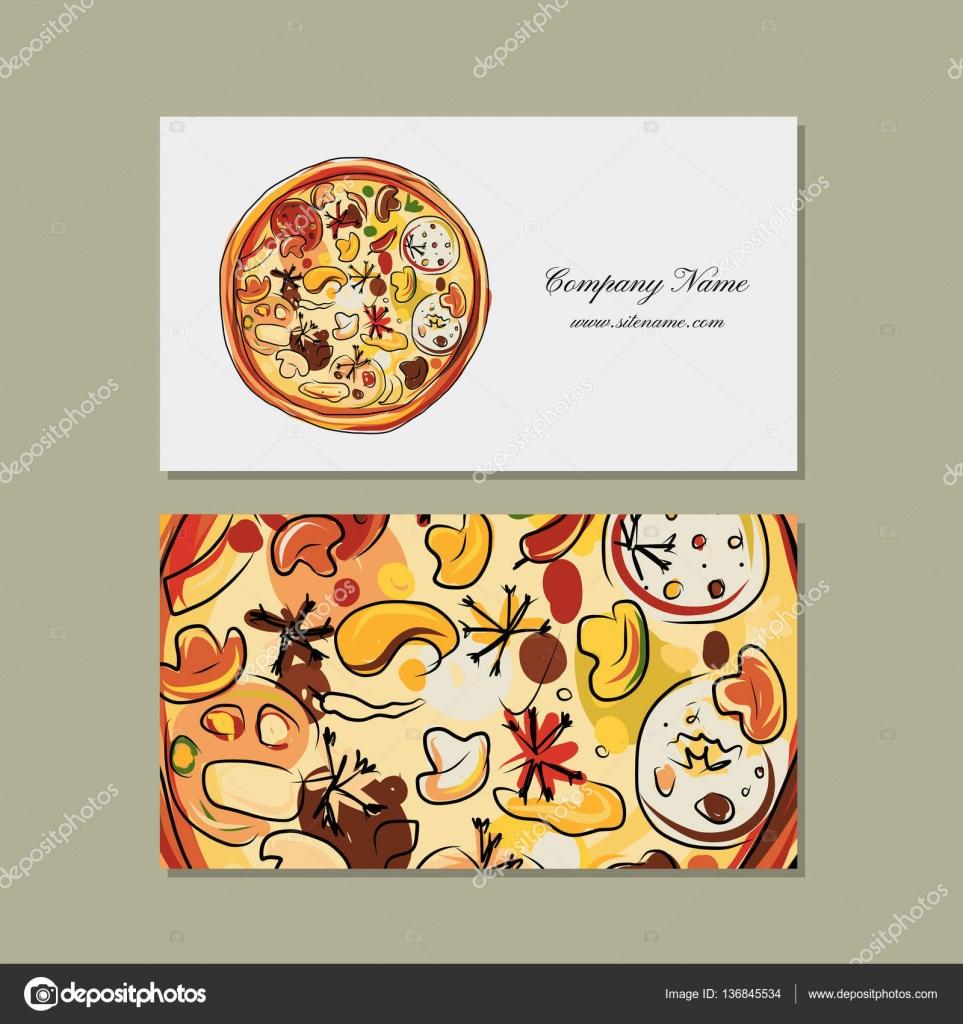 Business card design with pizza sketch — Stock Vector © Kudryashka ...