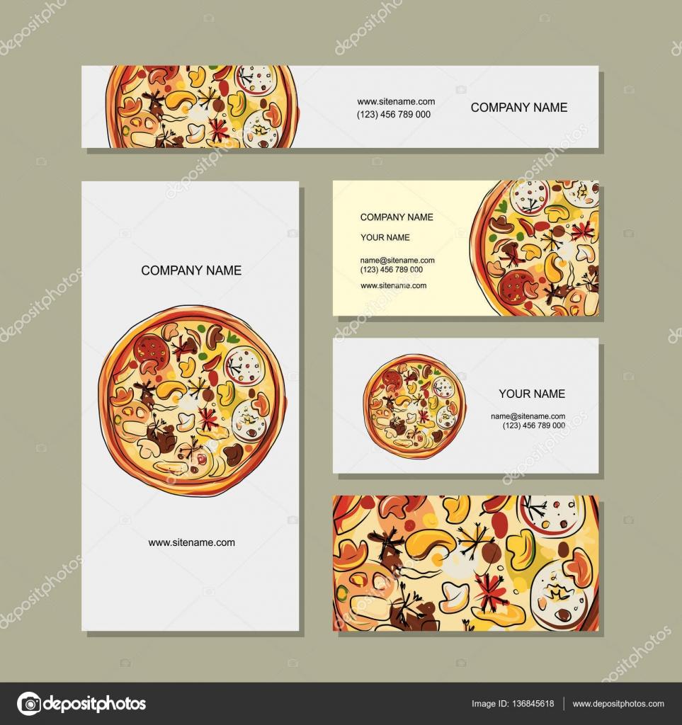 Business cards design with pizza sketch — Stock Vector © Kudryashka ...