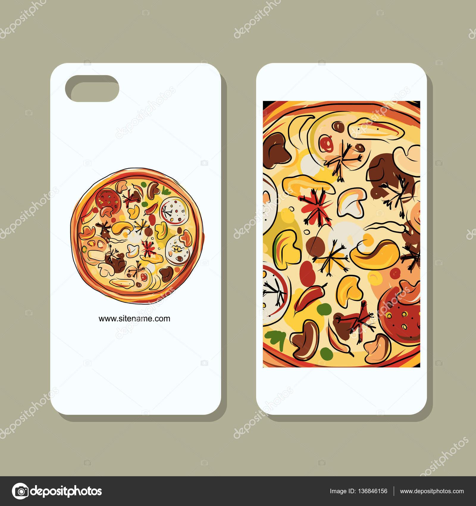 Vettore Sfondi Per Cellulari Pizza Copertura Del Telefono