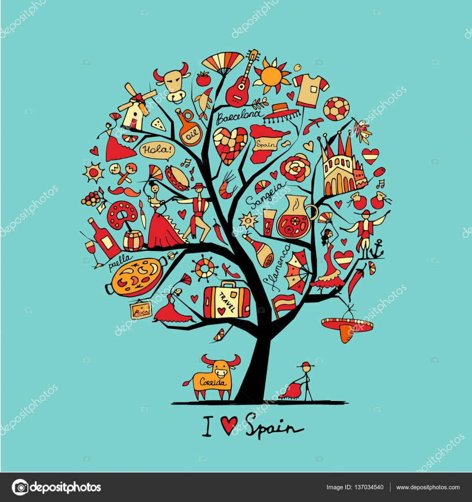 Art tree with spain symbols for your design stock vector art tree with spain symbols for your design stock vector buycottarizona Images