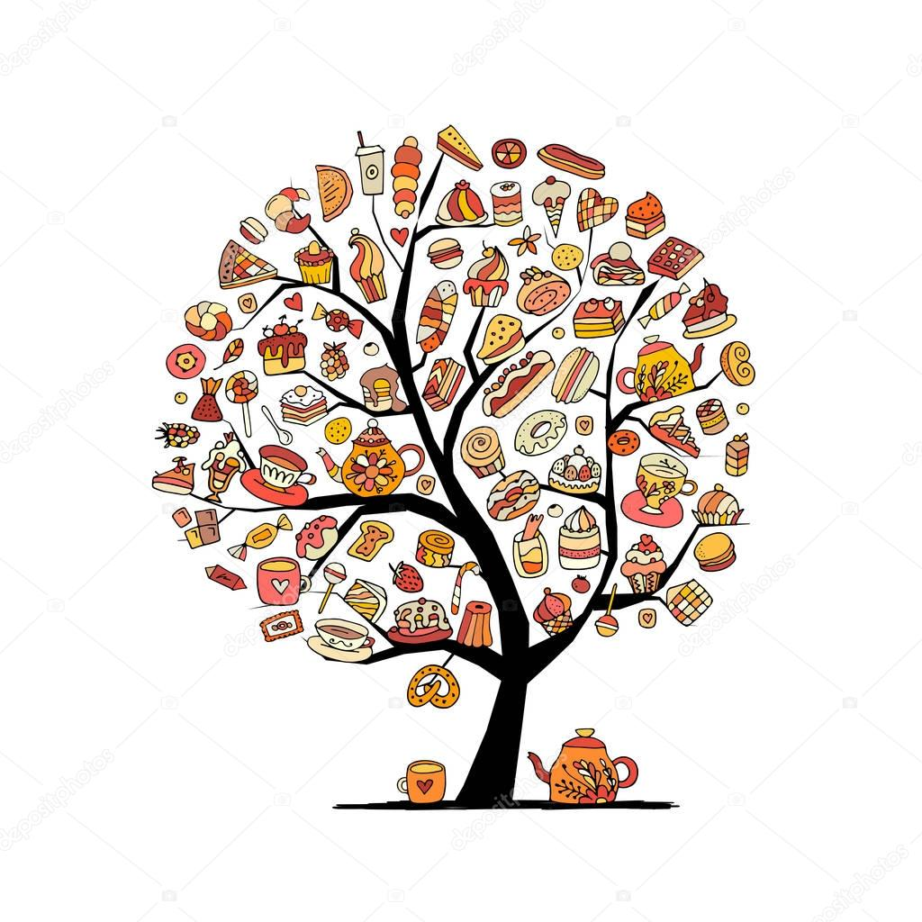 Cakes and sweets, art tree for your design