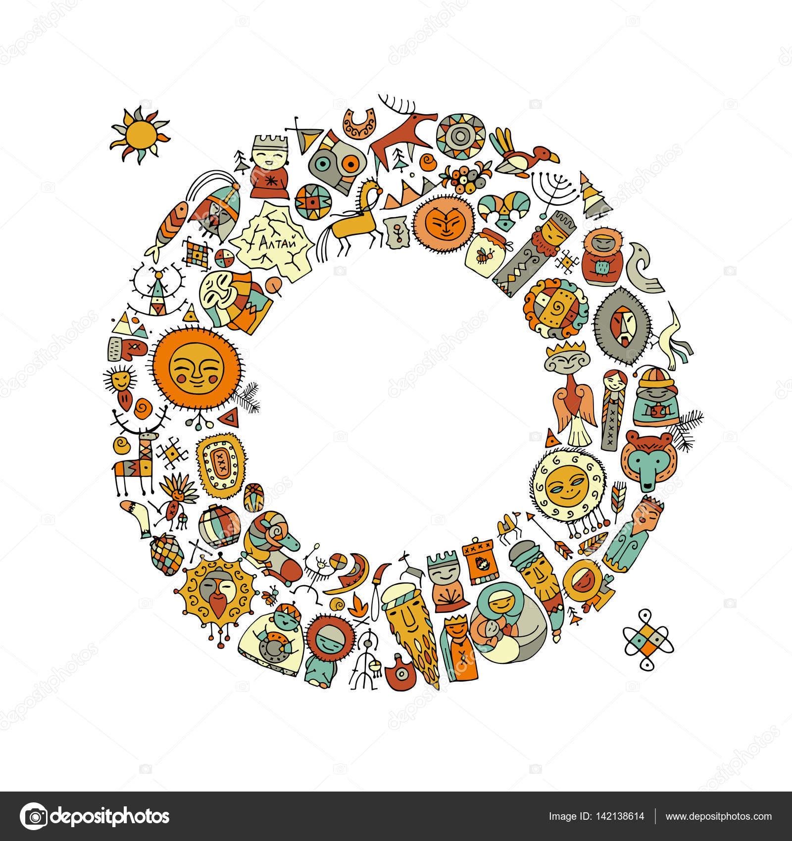 Marco de círculo étnico, bosquejo de su diseño — Vector de stock ...